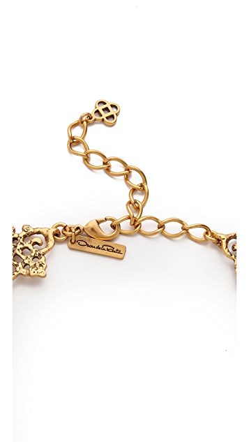 Oscar de la Renta Gold Lace Necklace