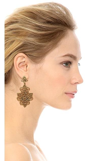 Oscar de la Renta Gold Tone Lace Earrings
