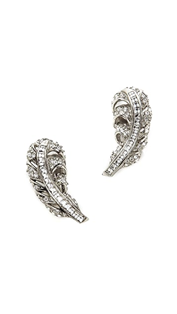 Oscar de la Renta Feather Clip On Earrings