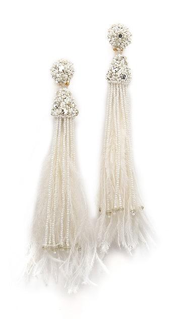 Oscar De La Renta style Feather Earrings