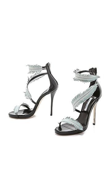 Oscar de la Renta Босоножки на каблуках с перьями