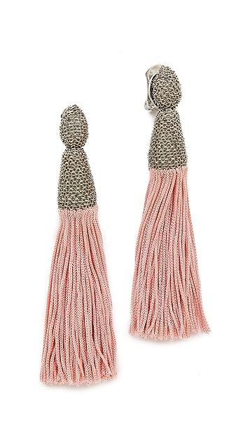 Oscar de la Renta Chain & Silk Tassel Earrings