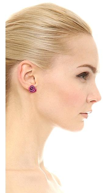 Oscar de la Renta Wire Rose Button Earrings