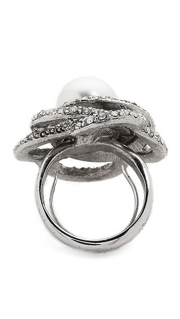Oscar de la Renta Crystal & Glass Pearl Ring