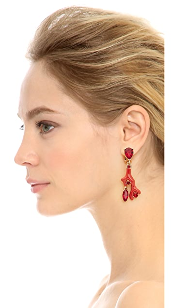 Oscar de la Renta Enameled Coral Earrings