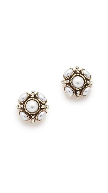 Oscar de la Renta Classic Button Earring