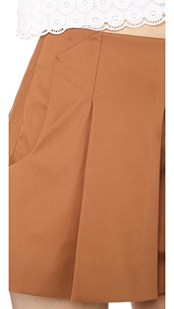 O'2nd Bonding Fabric Pleated Skirt