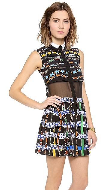Ostwald Helgason Sheer Panel Shirt Dress