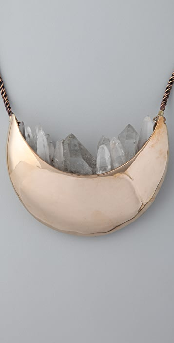Pamela Love Quartz Crystal Crescent Necklace