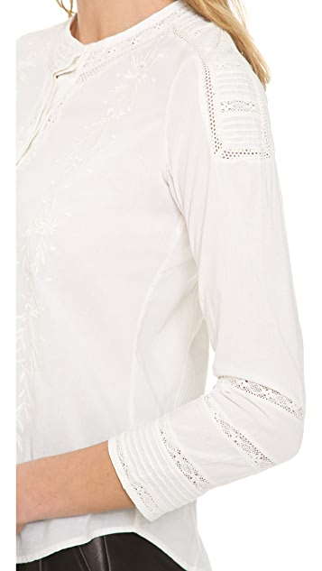 Pam & Gela Bracelet Sleeve Button Blouse