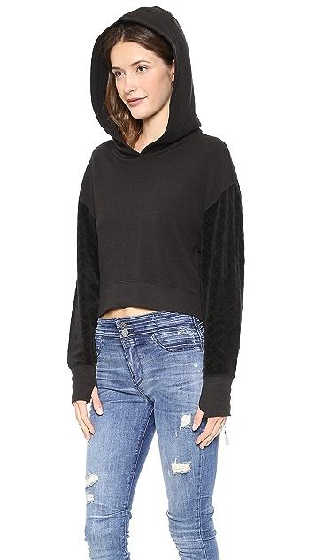 Pam & Gela Crop Hoodie with Quilted Velour Sleeves