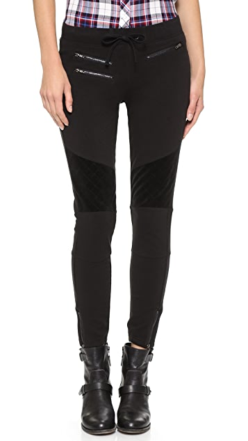 Pam & Gela Cropped Moto Pants with Velour Detail
