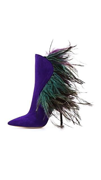 Paul Andrew Asteria Suede & Feather Boots