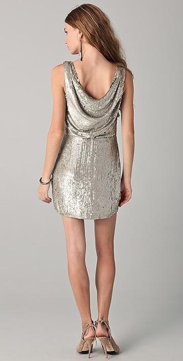 Parker Sequin Drape Front Dress