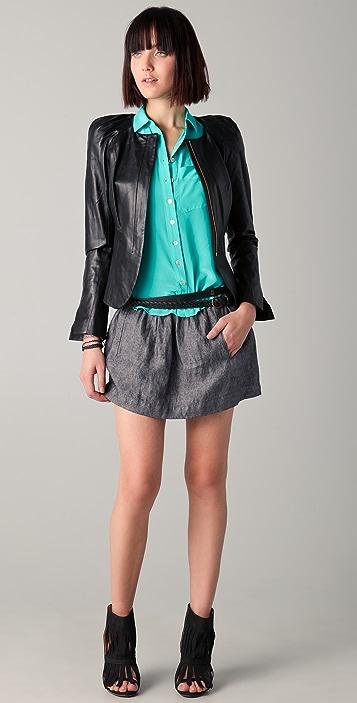 Parker Leather Pleated Shoulder Jacket