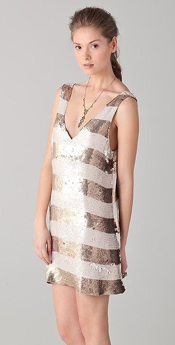 Parker Wide Striped Sequin V Neck Dress
