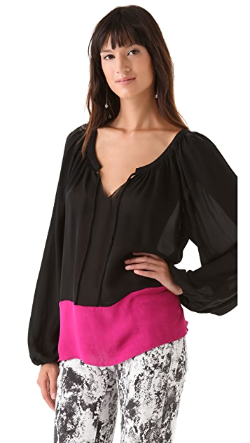Parker Colorblock Peasant Top