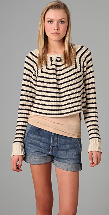PJK Patterson J. Kincaid Melinda Striped Cropped Sweater