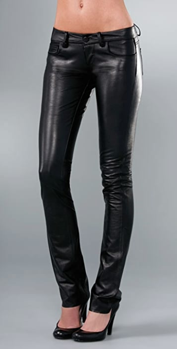 PAIGE Black Label Hyde Park Skinny Leather Pant