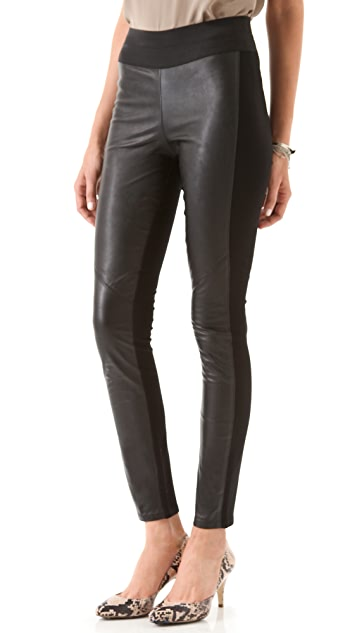 PAIGE Paloma Leather Legging Jeans