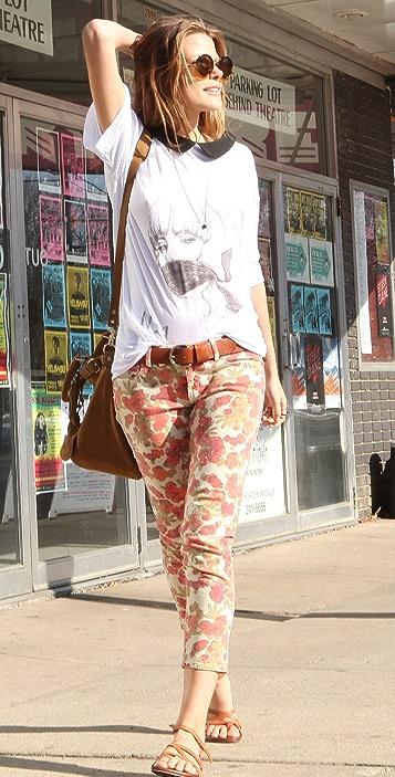 PAIGE Floral Ankle Peg Skinny Jeans