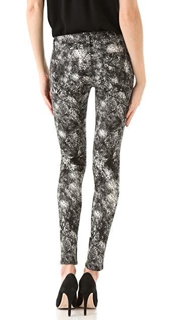 PAIGE Feather Print Verdugo Ultra Skinny Jeans
