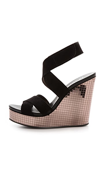 Pedro Garcia Theresa Mirror Wedge Platform Sandals