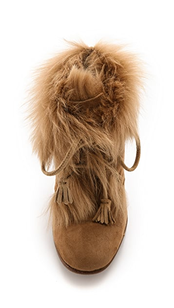 Pedro Garcia Barbara Fur Lace Up Booties