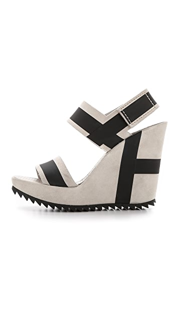 Pedro Garcia Vicenta Stripe Wedge Sandals