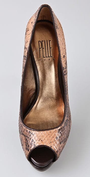 Pelle Moda Wren Peep Toe Pumps on Double Platform