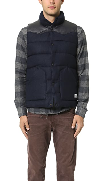 Penfield Pelham Melton Leather Yoke Down Vest