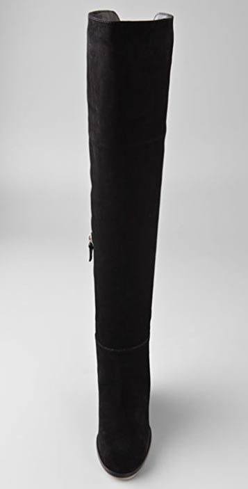 Philosophy di Lorenzo Serafini Over the Knee Suede Boots on Cutout Wedge