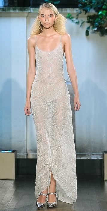 Philosophy di Lorenzo Serafini Long Dress with All Over Glass Beading