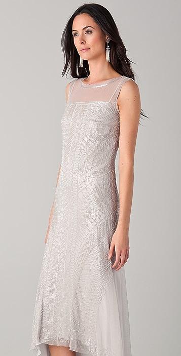 Philosophy di Lorenzo Serafini Tea Length Dress with All Over Glass Beading
