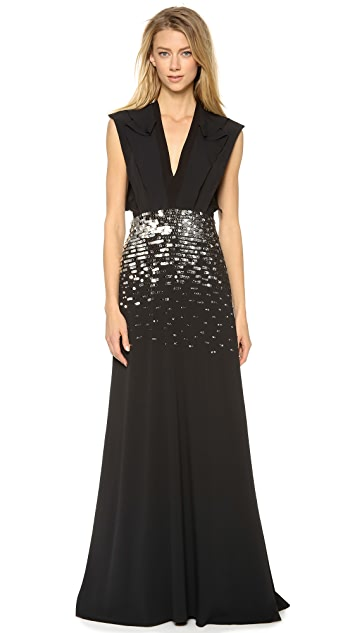 Philosophy di Lorenzo Serafini Sleeveless Embroidered Gown