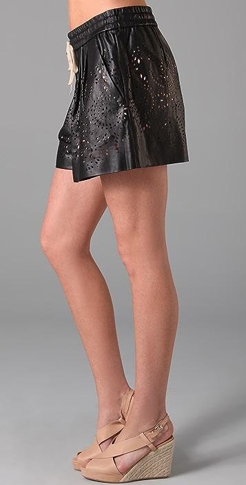 3.1 Phillip Lim Laser Cut Leather Shorts