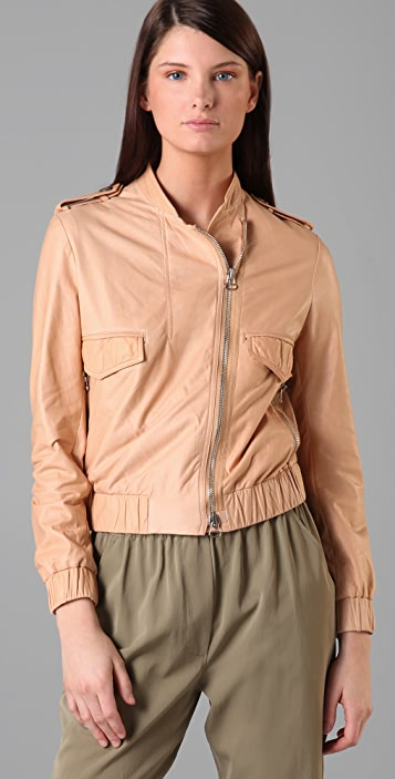 3.1 Phillip Lim Leather Bomber Jacket with Trompe l'Oeil Collar