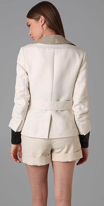 3.1 Phillip Lim Double Breasted Pea Coat with Trompe l'Oeil Collar & Cuffs