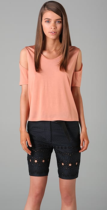 3.1 Phillip Lim Short Sleeve Tee with Cutout Sleeves