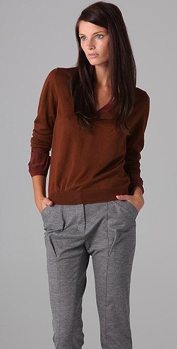3.1 Phillip Lim V Neck Sweater with Twist Trim