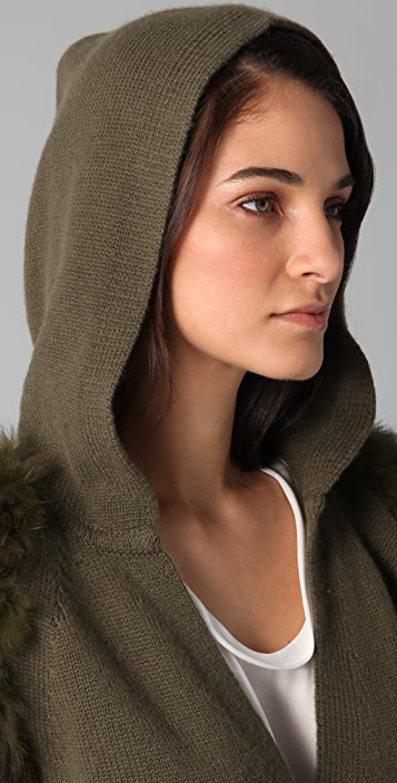 3.1 Phillip Lim Hooded Wrap Cardigan with Fur Sleeves