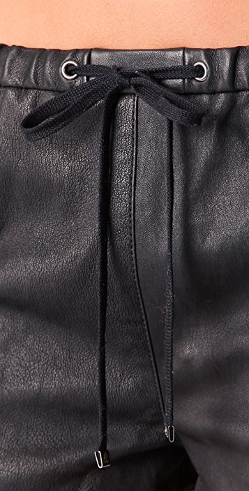 3.1 Phillip Lim Leather Boxing Shorts with Contrast Trim
