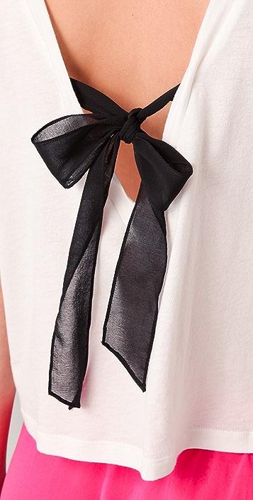 3.1 Phillip Lim Black Ribbon Tie V Neck Tank