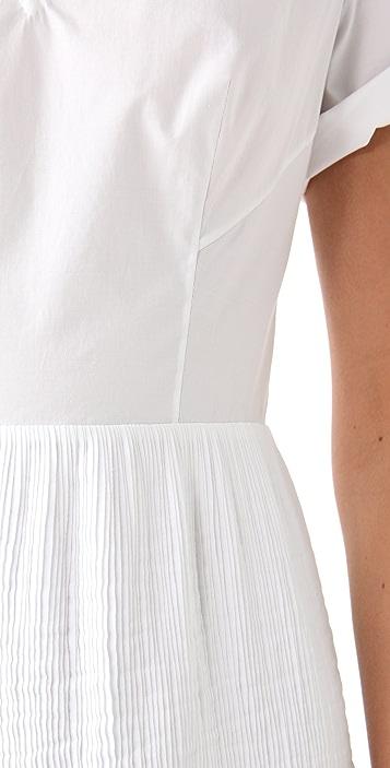 3.1 Phillip Lim V Neck Dress with Pintucked Skirt