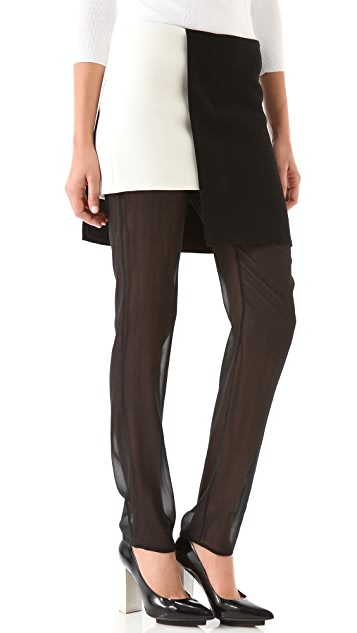 3.1 Phillip Lim Slim Leg Chiffon Trousers with Skirt Overlay