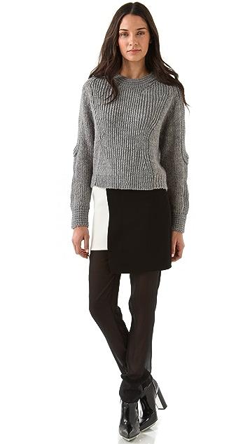 3.1 Phillip Lim Slim Leg Chiffon Trousers with Skirt Overlay