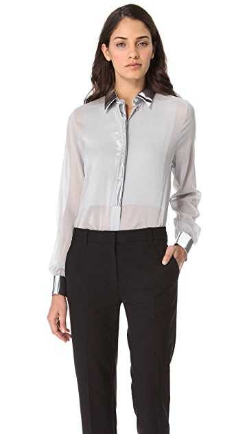 3.1 Phillip Lim Metallic Bib Blouse