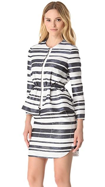 3.1 Phillip Lim Zip Stripe Peplum Jacket