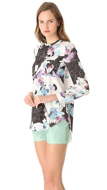 3.1 Phillip Lim Scrapbook Floral Blouse with Hidden Zip
