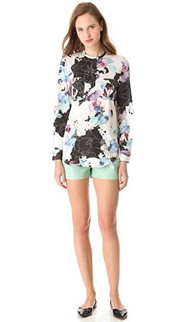 3.1 Phillip Lim Scrapbook Floral Blouse with Hidden Zip